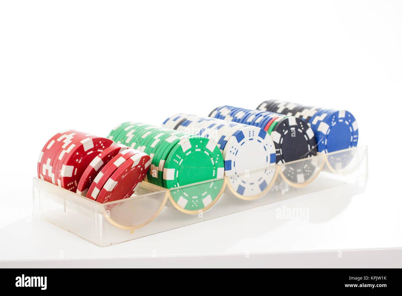 Poker Casino Münzen token Token auf isolierten weißen studio ...