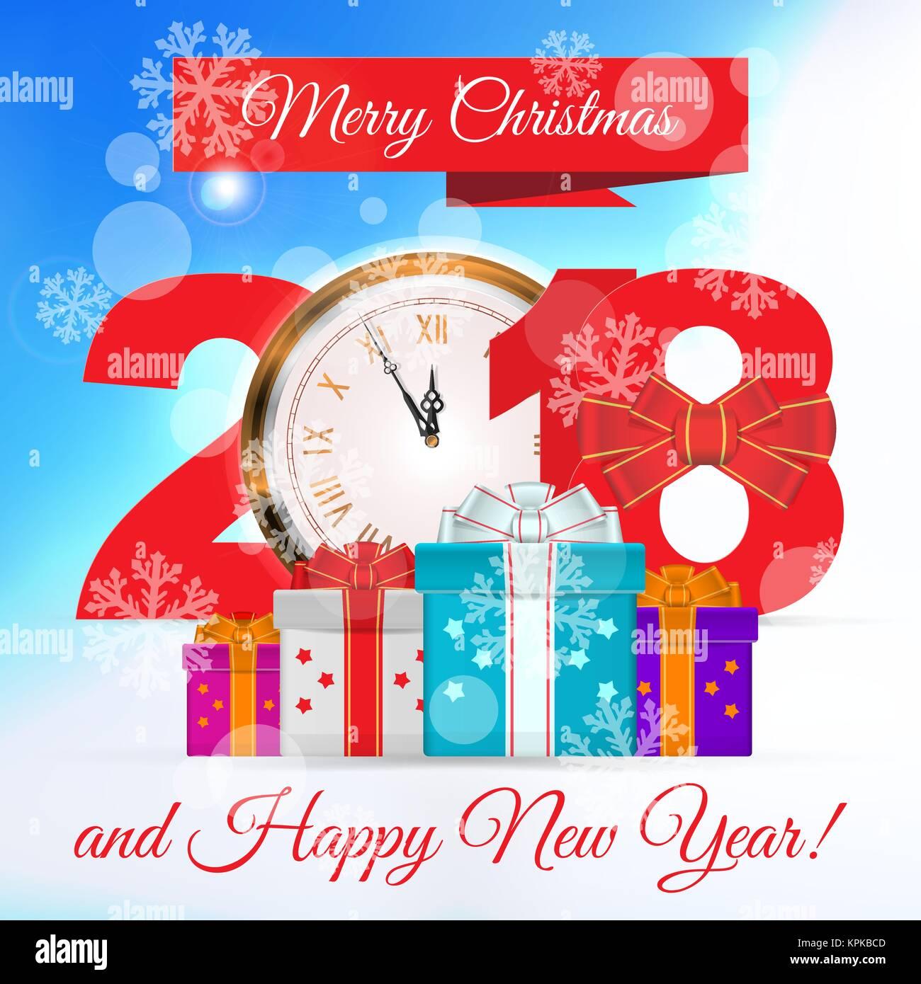 Frohe Weihnachten und ein glückliches Neues Jahr 2018 Vector ...