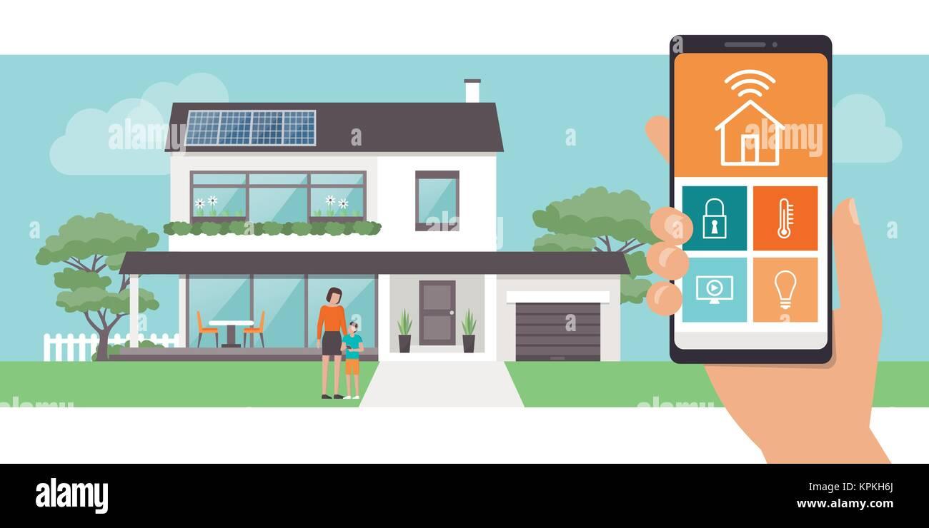 Smart Home App Mit Steuerung Eco Haus Auf Den Hintergrund Und Die
