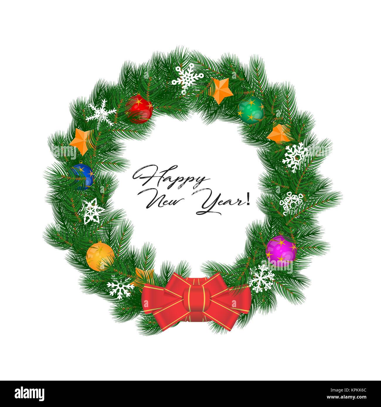 Kranz Aus Weihnachtskugeln.Weihnachten Kranz Illustration Isoliert Auf Weiss Roten