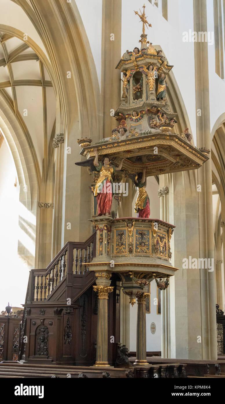 Kanzel von Johannes Degler, 17. Jahrhundert, Basilika St. Ulrich und Afra, Augsburg, Bayern, Deutschland Stockbild