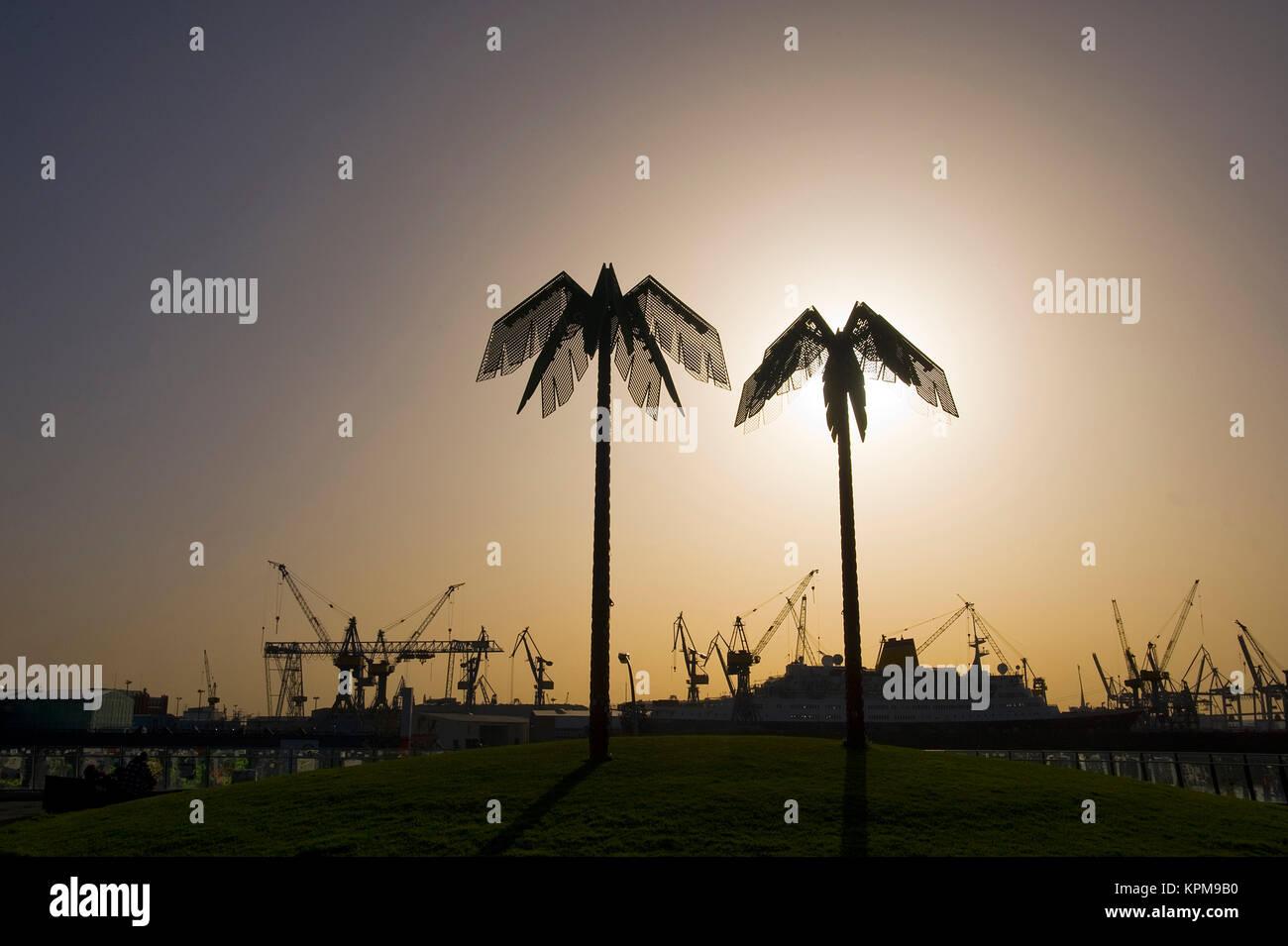 Hamburg, eine der schönsten und beliebtesten Reiseziele der Welt. Künstliche Palmen, Park Fiction, St. Pauli Stockfoto