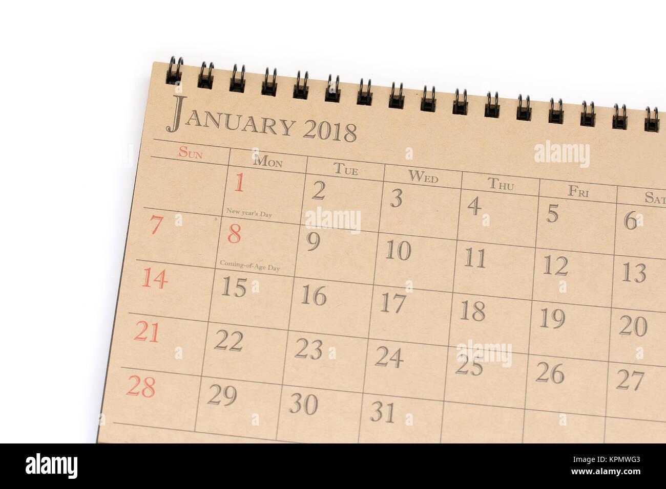 Kalender Planer oder 2018 Zeitplan Anordnung auf weißem Hintergrund ...