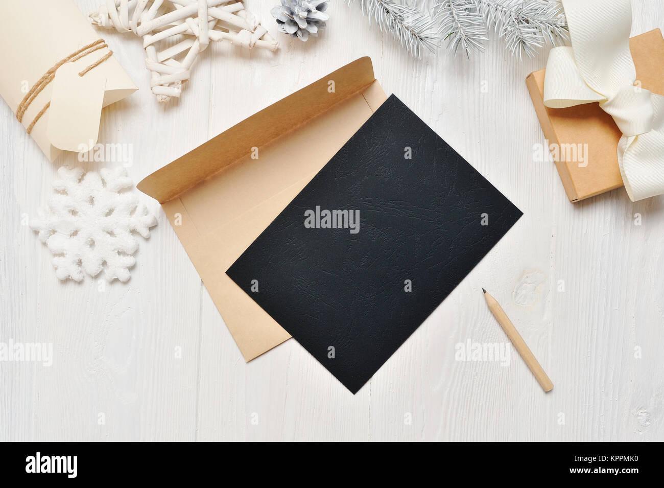 Mockup Weihnachten Schwarz Grußkarte Brief Im Umschlag Und Bleistift