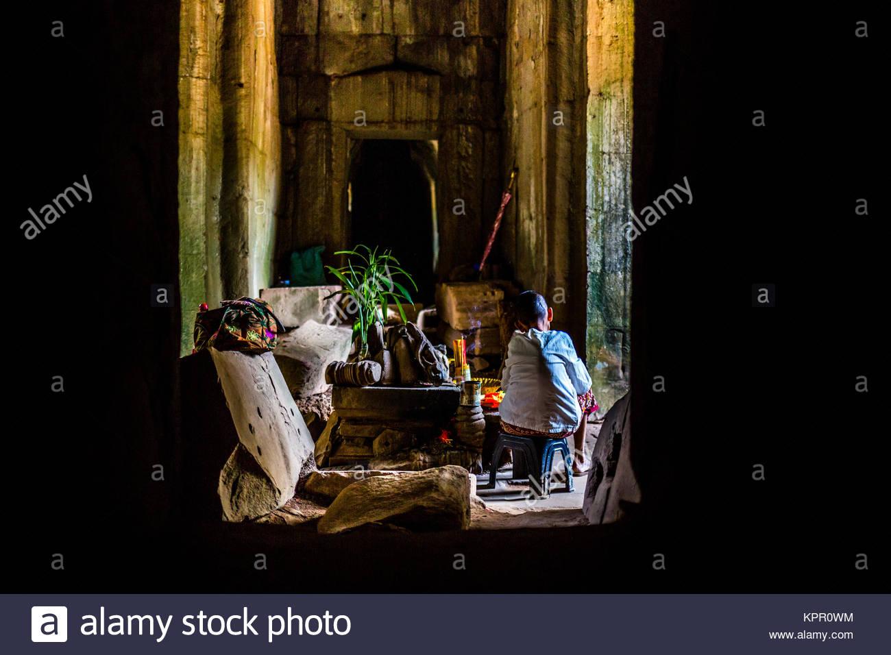Die armen Mönch von Angkor Stockbild