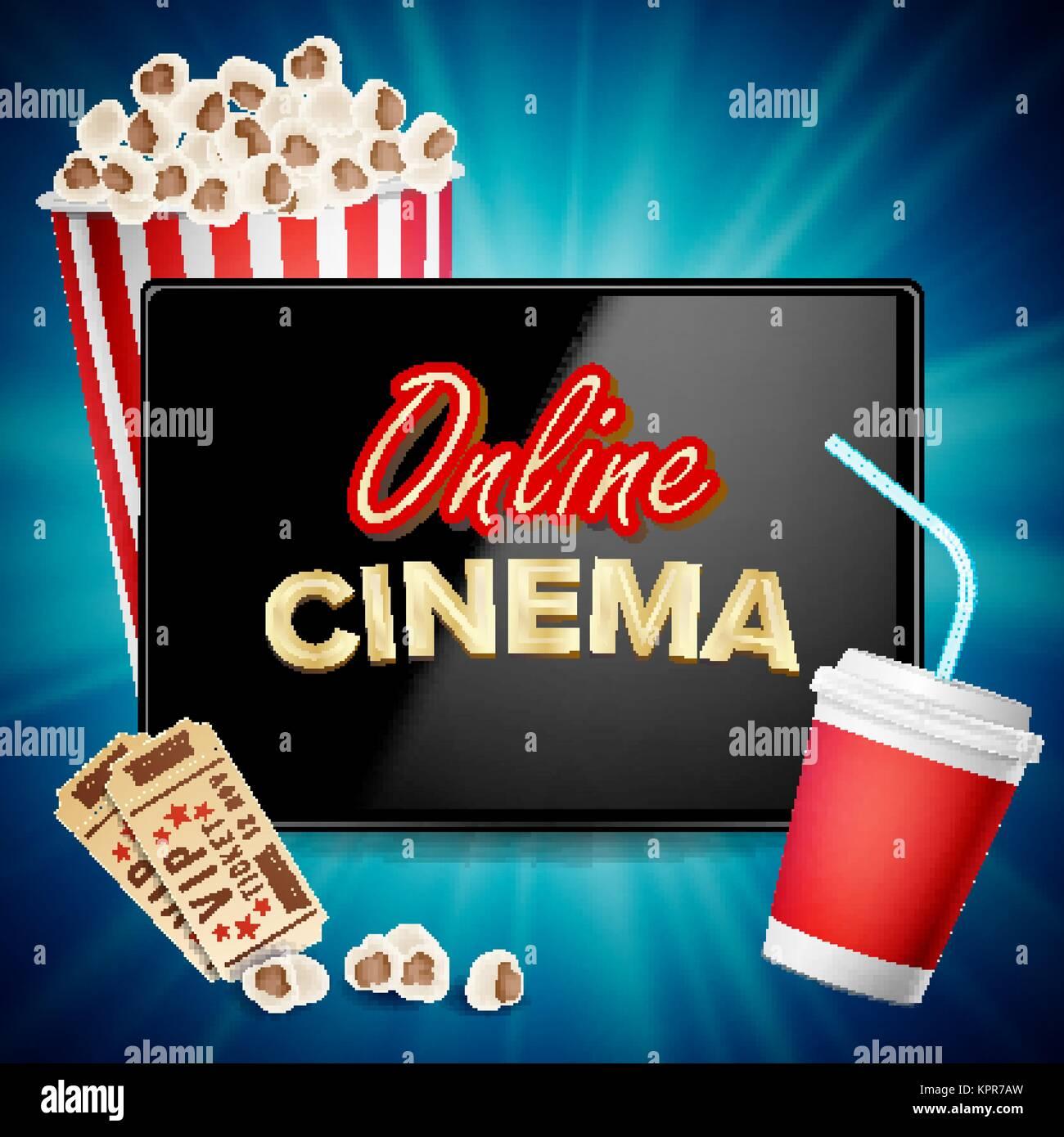 Online Kino Banner Vektor. Realistische Tablet. Popcorn, Getränke ...