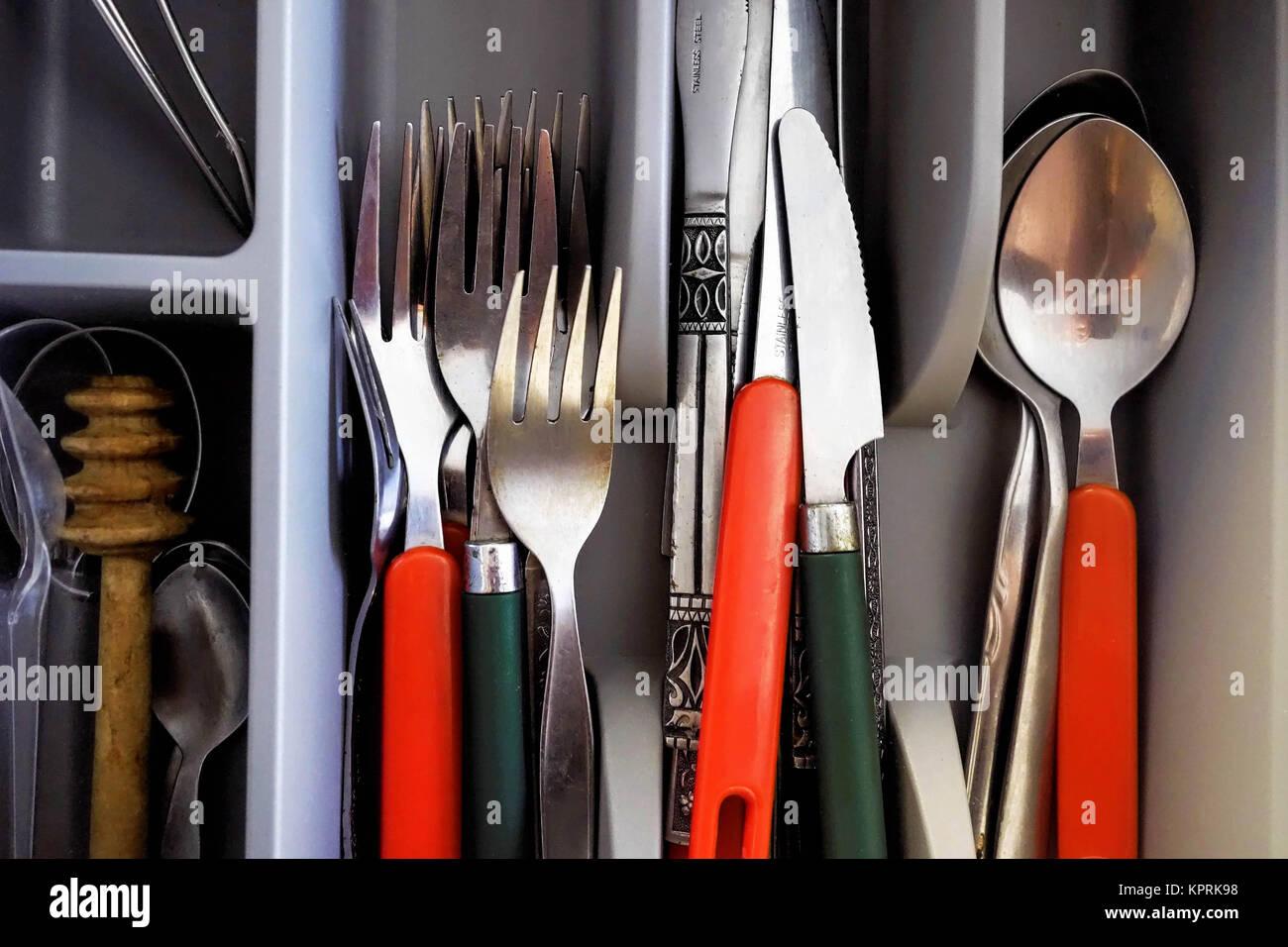 Küche Besteck in der Küche Schublade Stockfoto