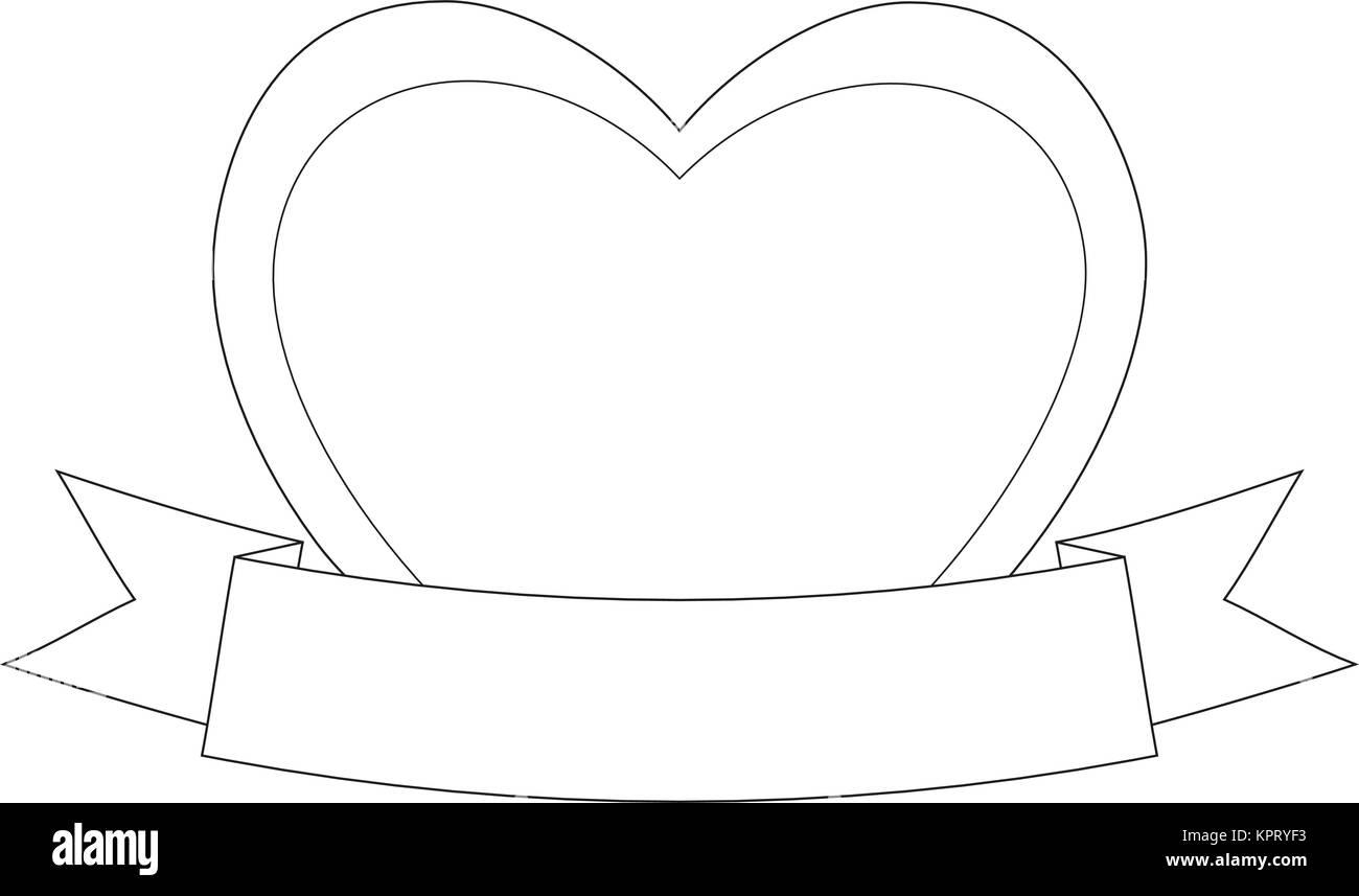 valentinstag themed schwarz weiss poster mit herz und band vektor abbildung bild 168942231. Black Bedroom Furniture Sets. Home Design Ideas