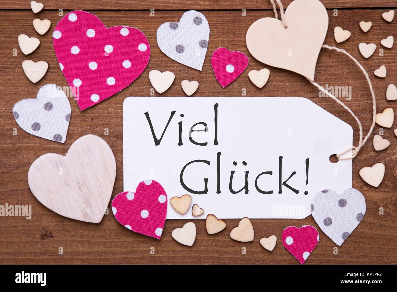 Etikett Mit Rosa Herzen Auf Textil Holz Hintergrund Deutsche Text