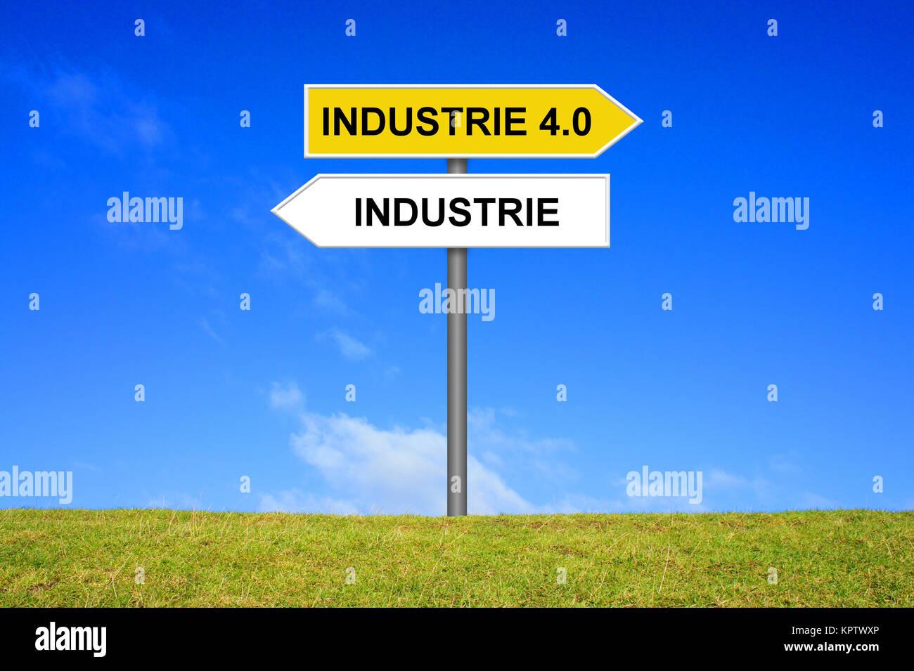 Zeichen Wegweiser Wirtschaft oder Industrie 4.0 Stockbild