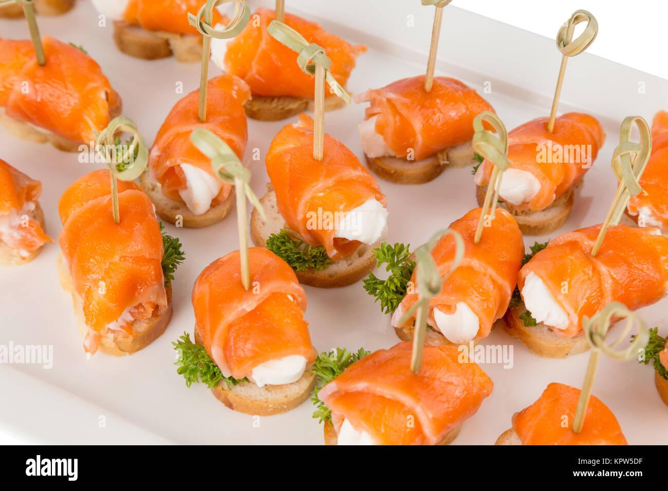 Closeup Häppchen und Snacks für die Gastronomie Stockbild
