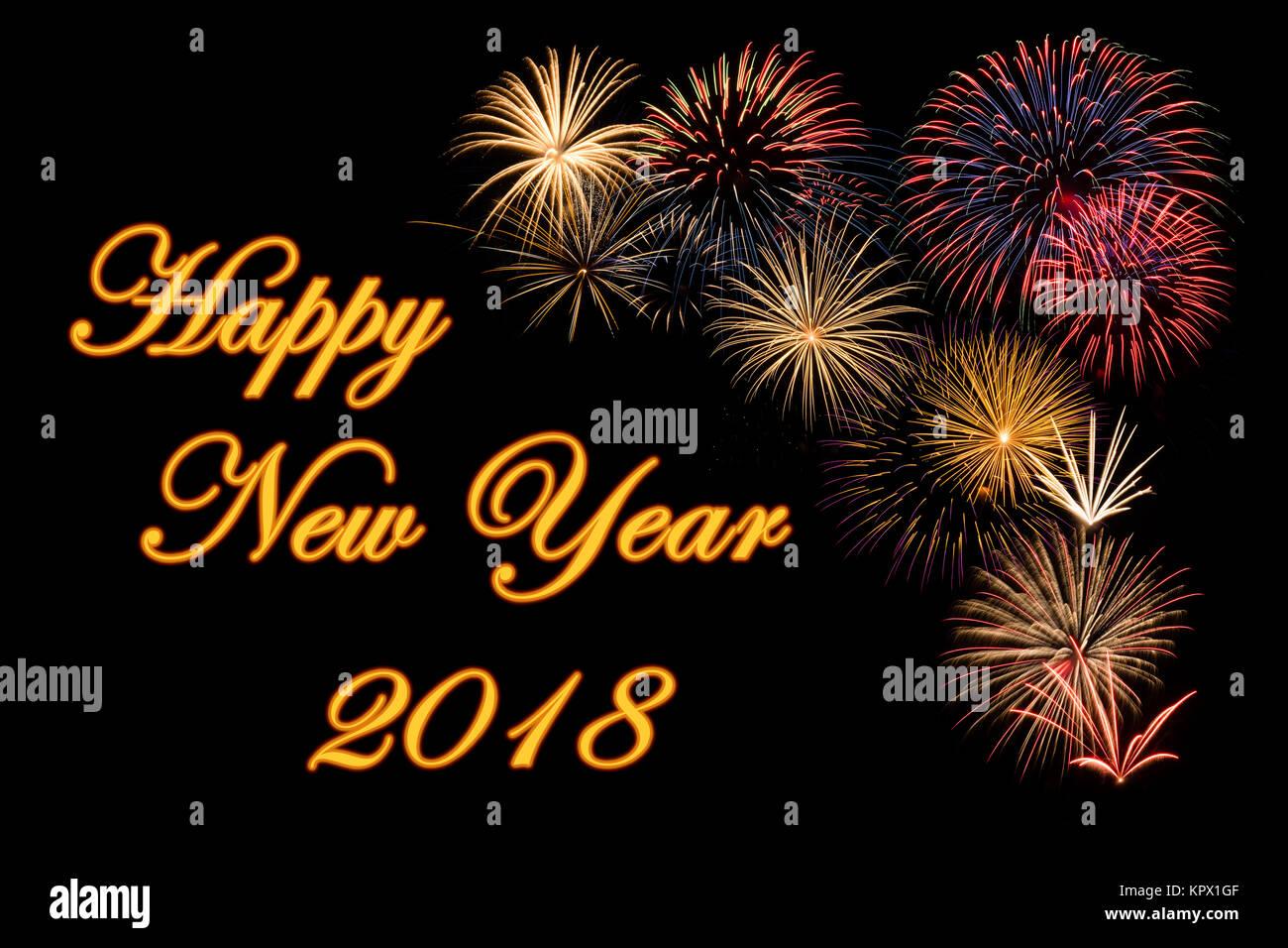 Festliches Feuerwerk für ein glückliches Neues Jahr 2018 wünscht ...