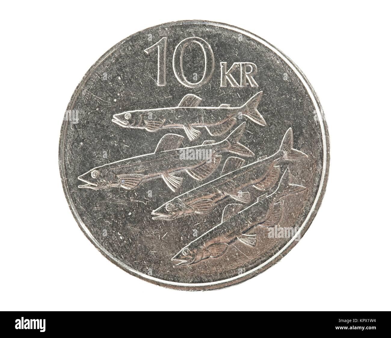 Isländische 10 Kronen Münze Stockfoto Bild 168987984 Alamy