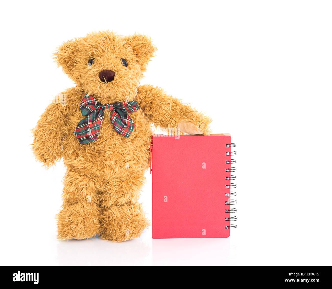 teddyb r mit stift und leere red notebook stockfoto bild 168991877 alamy. Black Bedroom Furniture Sets. Home Design Ideas