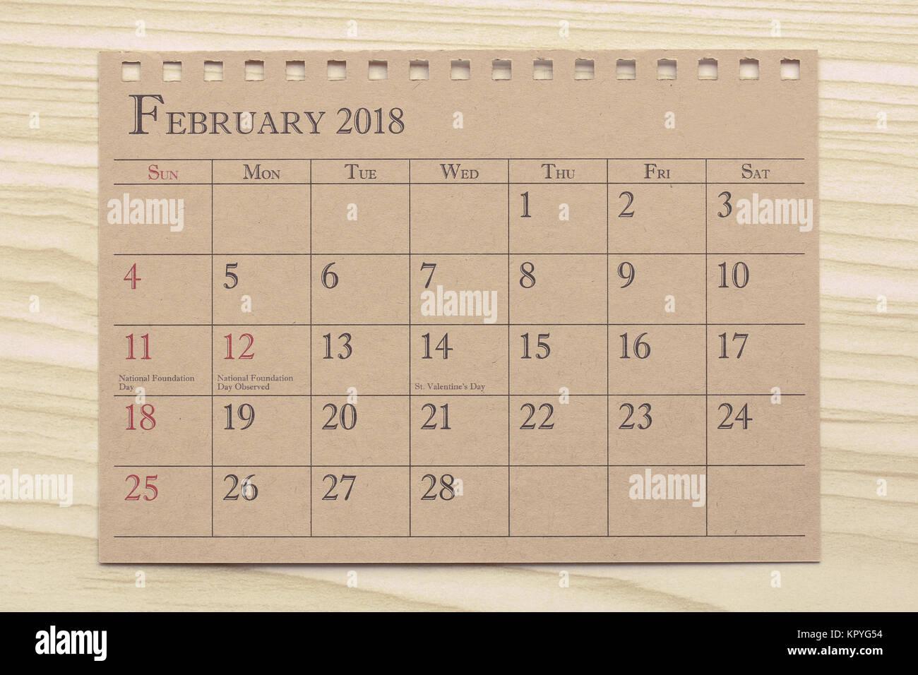 Kalender Planer oder 2018 Zeitplan Anordnung auf Holz Hintergrund ...