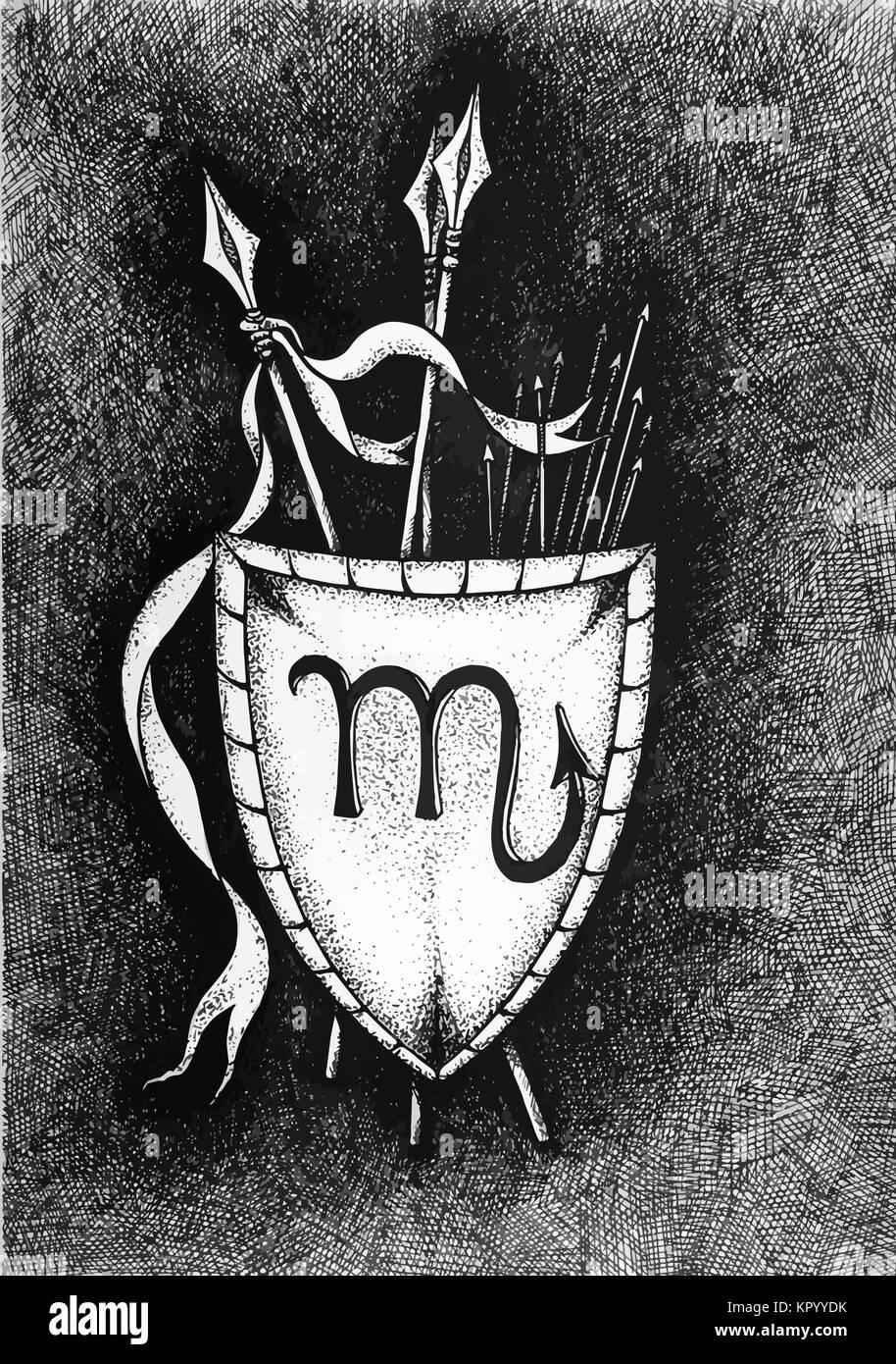 Die Sternzeichen Skorpion Hand Mit Tinte Pinsel Gezeichnet Vector