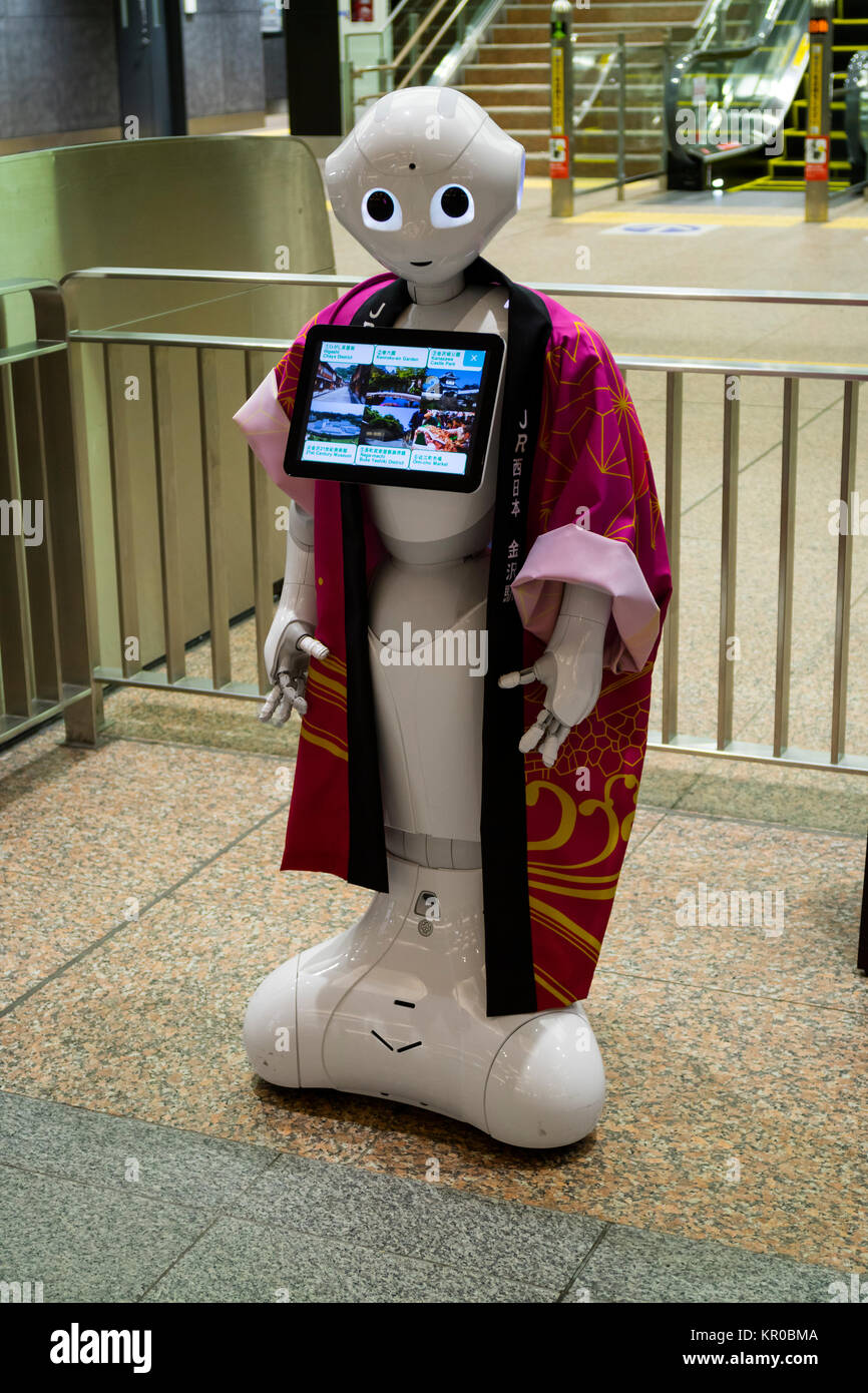 Kanazawa, Japan, 10. Juni 2017: Informationen Roboter am Eingang von einem Reisebüro in Kanazawa Stockbild