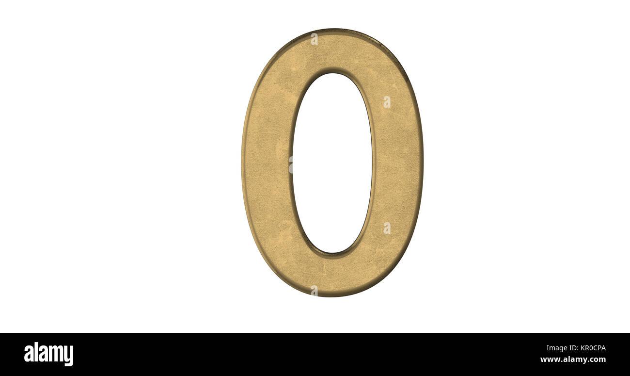 3D-Rendering des Briefes 0 in gebürstetem Metall auf einem weißen Hintergrund isoliert Stockbild