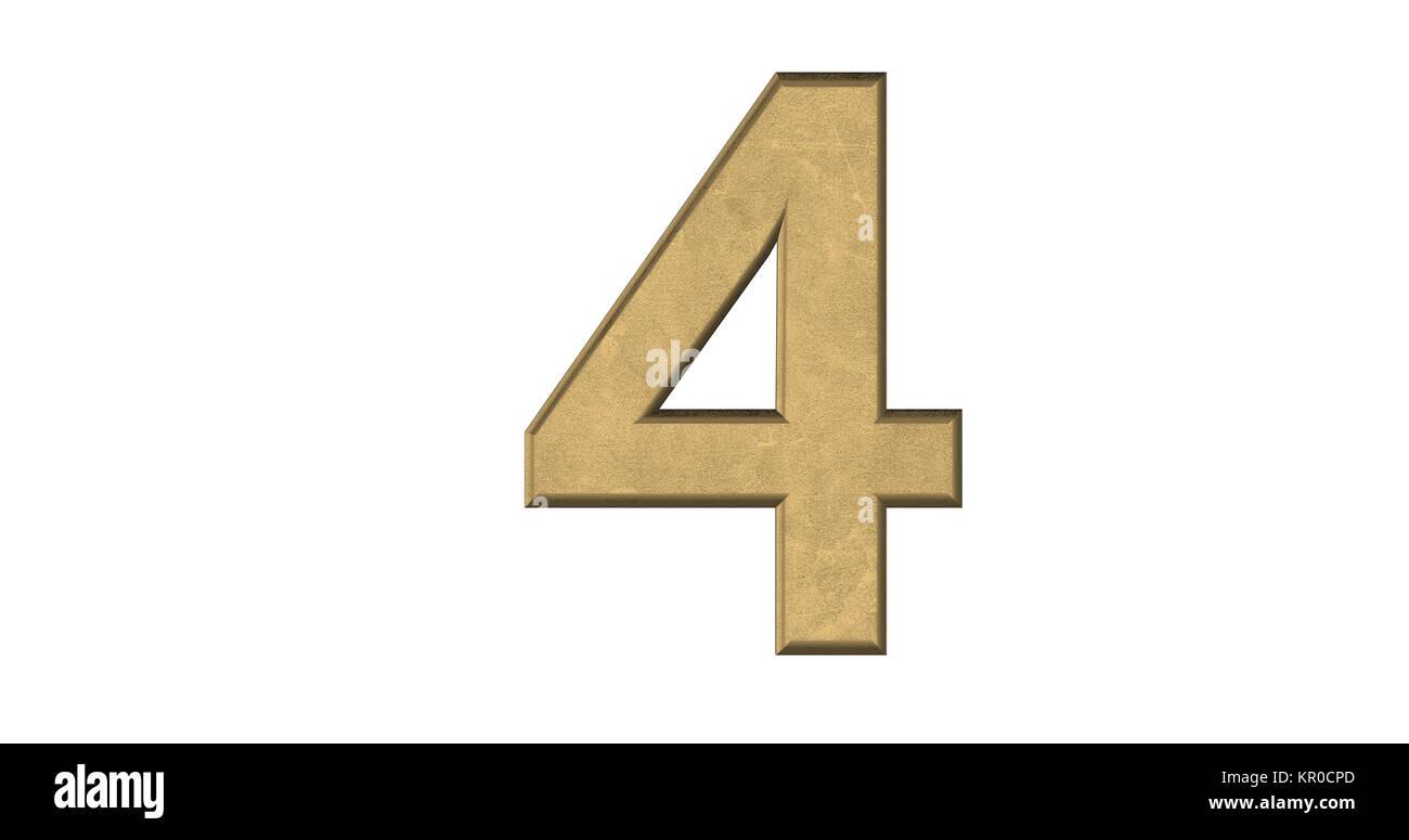 3D-Rendering des Briefes 4 in gebürstetem Metall auf einem weißen Hintergrund isoliert Stockbild