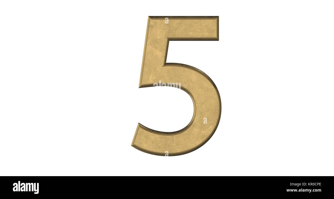 3D-Rendering des Briefes 5 in gebürstetem Metall auf einem weißen Hintergrund isoliert Stockbild