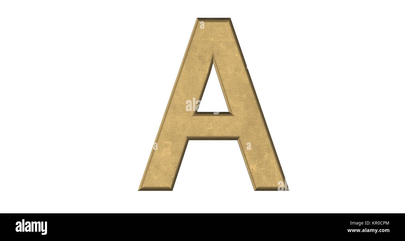 3D-Rendering des Buchstaben A in gebürstetem Metall auf einem weißen Hintergrund isoliert Stockbild