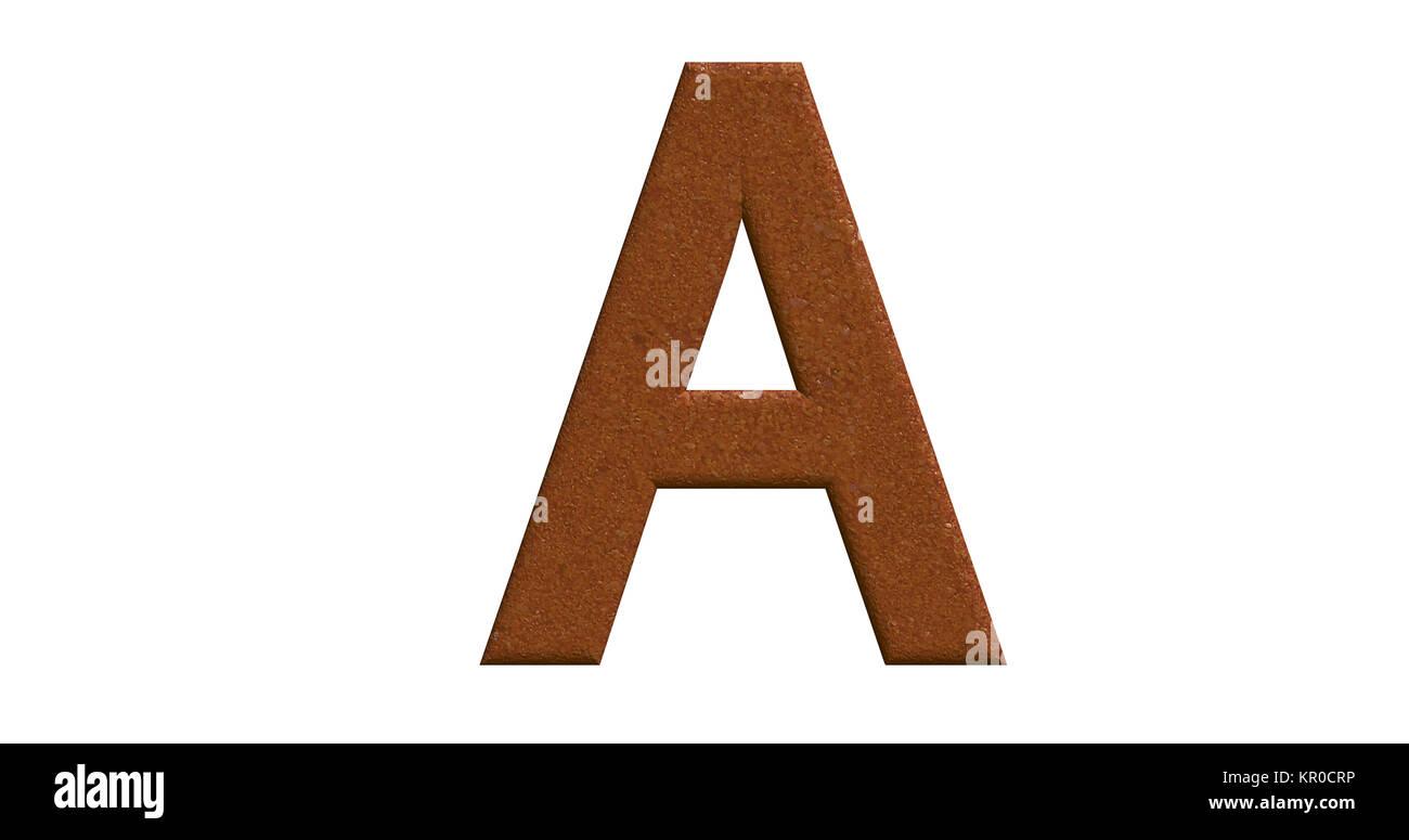 3D-Rendering des Buchstaben A in gebürstetem Metall auf einem weißen ...