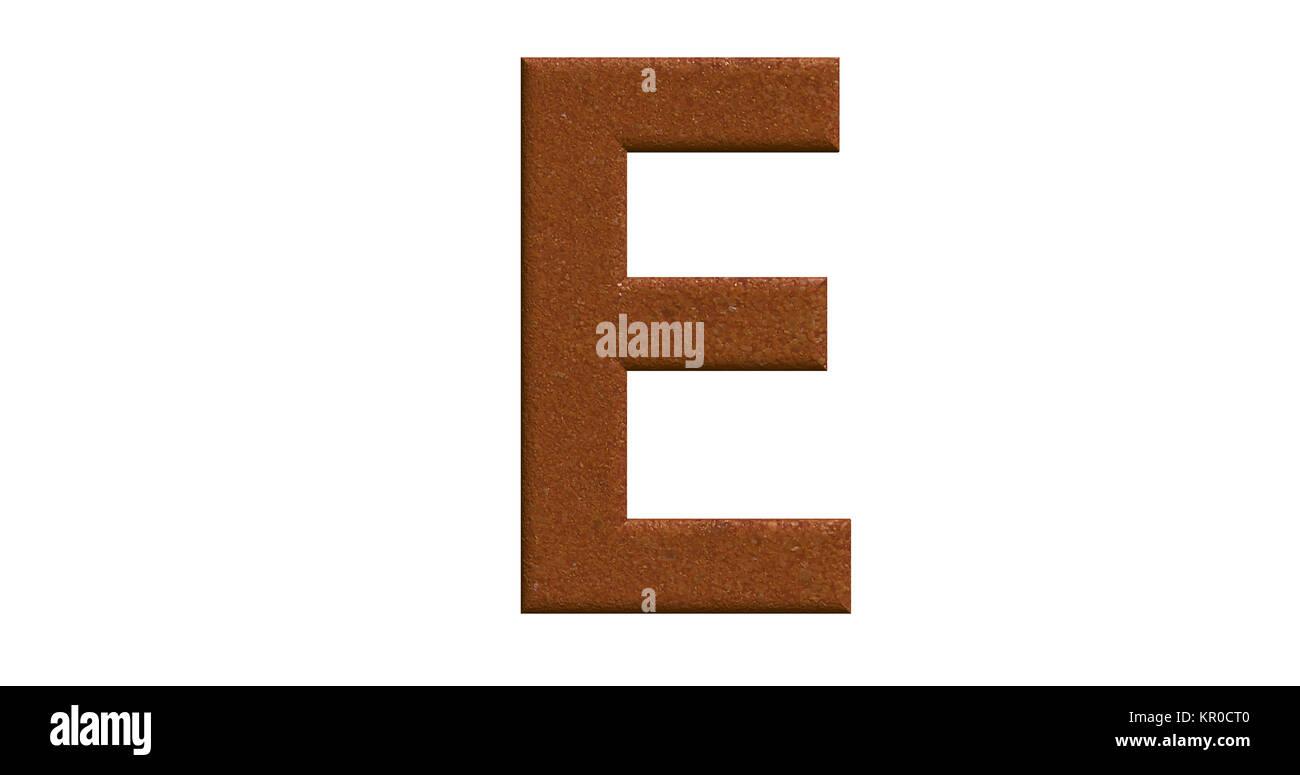 3D-Rendering des Buchstaben E in gebürstetem Metall auf einem weißen Hintergrund isoliert Stockbild