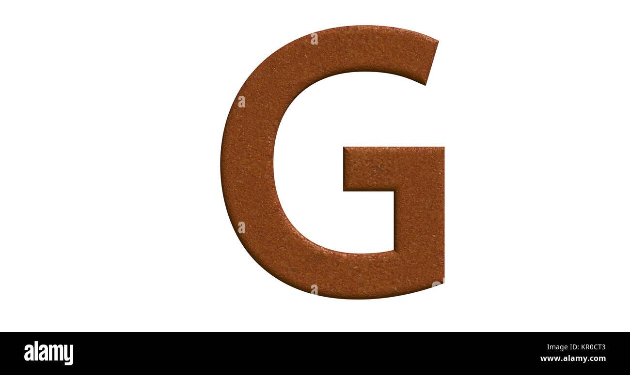 3D-Rendering des Buchstaben G in gebürstetem Metall auf einem weißen Hintergrund isoliert Stockbild