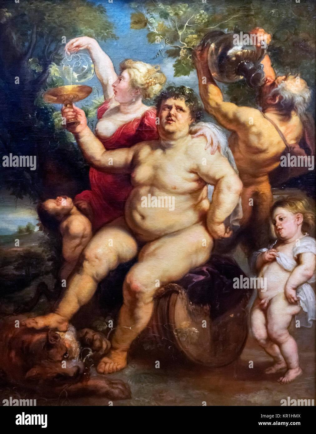 Bacchanalia von Peter Paul Rubens (1577-1640), Öl auf Leinwand, 1635-40. Das Gemälde zeigt (Bacchus oder Stockbild