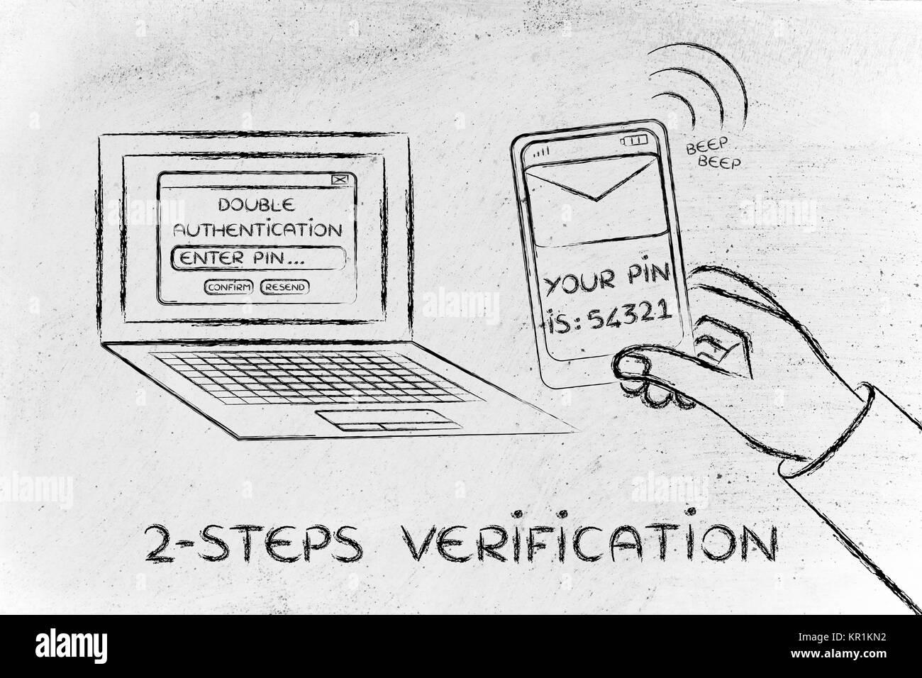 2 Schritte Überprüfung, Illustration mit Login und Stift auf mobilen Stockfoto
