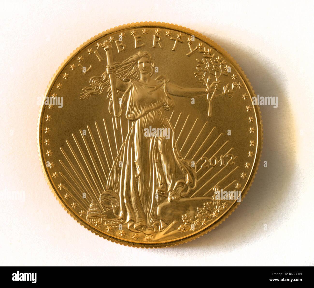 1 Unze American Eagle Goldene Münze 1 Unze Goldmuenze Stockfoto