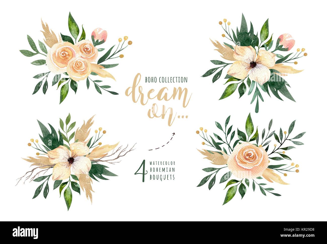Hand Gezeichnet Aquarelle Grün Blätter Und Blumensträuße. Boho Style Grün  Und Gold. Abbildung Auf Weißen Isoliert. Art Design Für Einladung, Hochzeit  Karte.