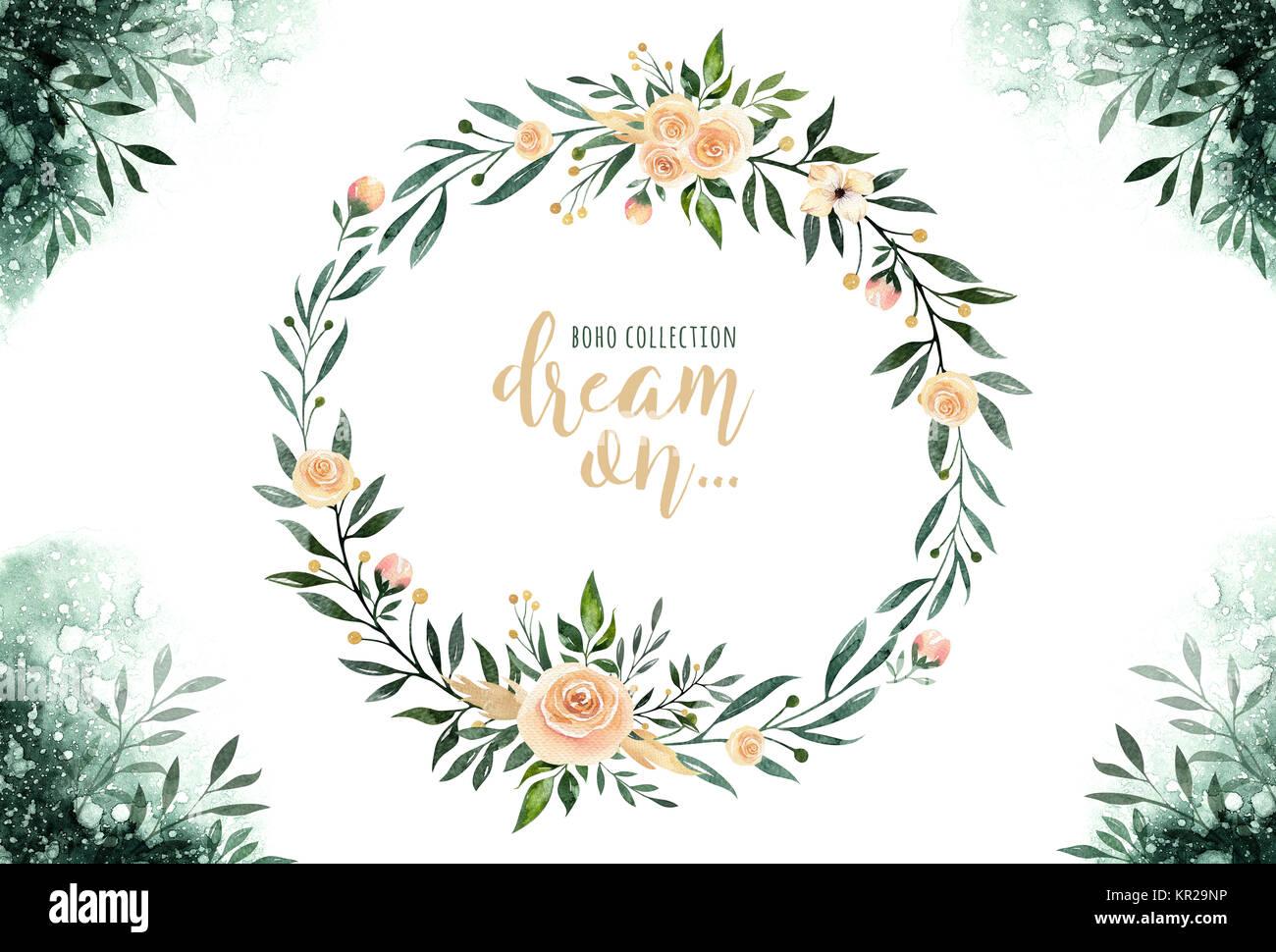 Hand Gezeichnet Aquarelle Grün Blätter Und Blumen Kränze. Boho Style Grün  Und Gold. Abbildung Auf Weißen Isoliert. Design Für T Shirt, Einladung,  Hochzeit ...