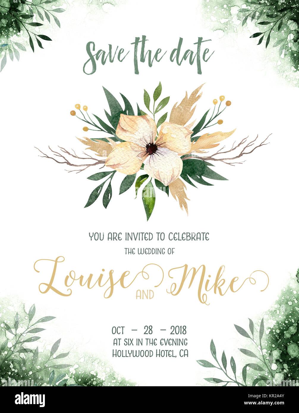 Aquarell Grün Farbe Hochzeit Einladung Karte Mit Grünen Und Goldenen  Elementen. Papier Textur Mit Blumen Und Blätter. Aquarell Papier Datum  Speichern.