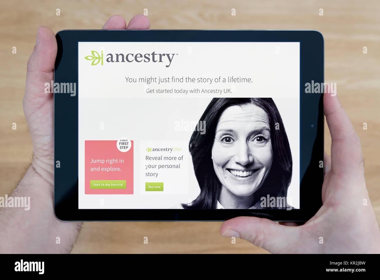 Ein Mann schaut auf die Abstammung Website auf seinem iPad tablet device, Schuß gegen einen hölzernen Stockbild
