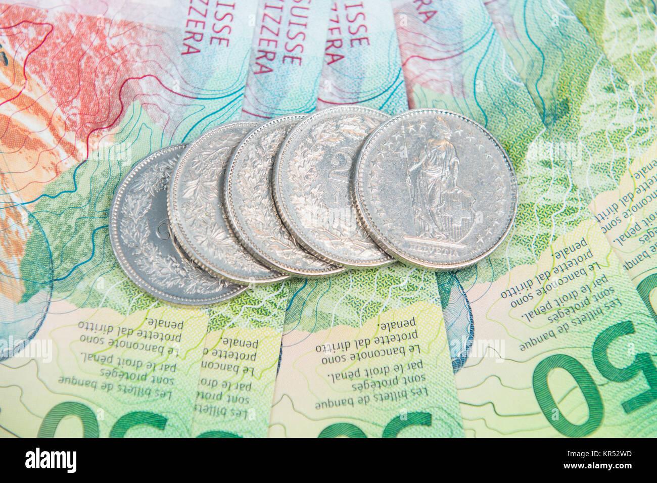 Schweizer Franken Silber Münzen Auf Neue Schweizer Banknoten Als