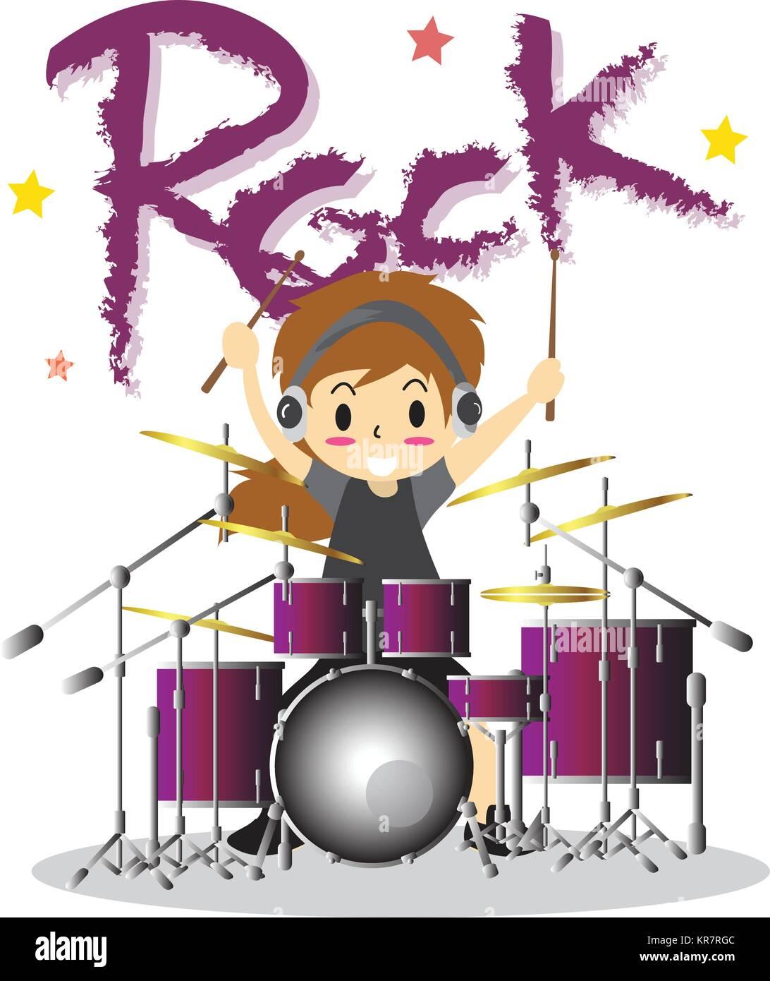 Junge Junge Spielt Schlagzeug Happy Liebe Musik Farbe Rock