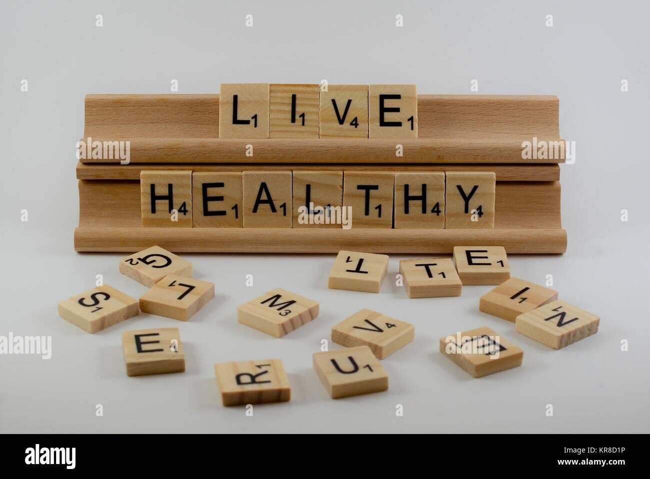 Gesund leben auf Holz Fliesen ill. Stockbild
