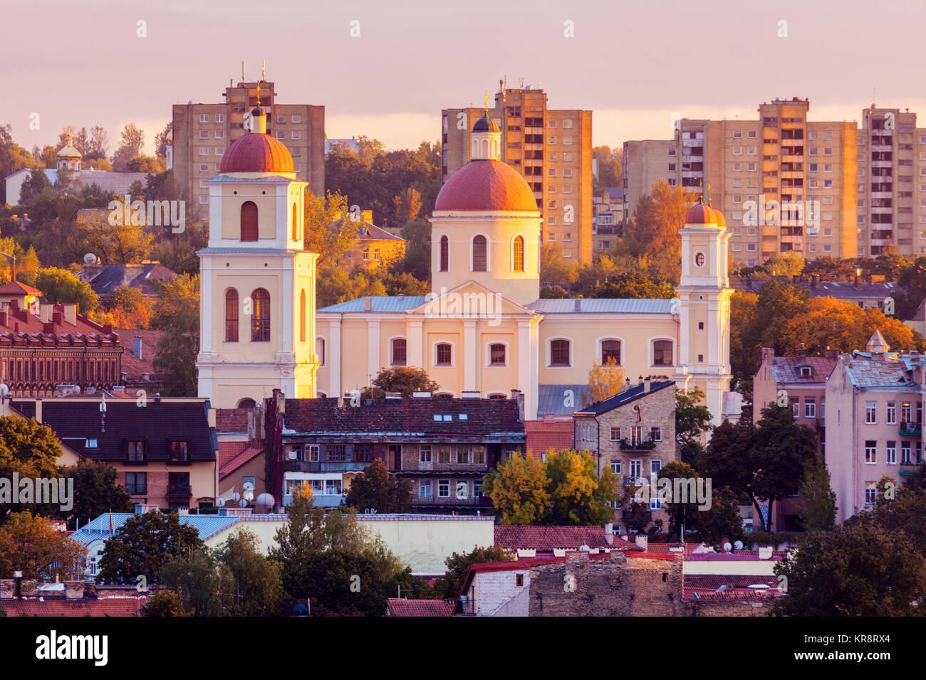 Vilnius, Litauen, Stadtbild bei Sonnenaufgang Stockbild