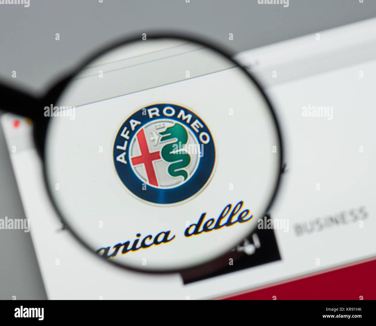 Mailand Italien 10 August 2017 Alfa Romeo Homepage Es Ist Eine Symbol Italienische Autohersteller Logo Sichtbar