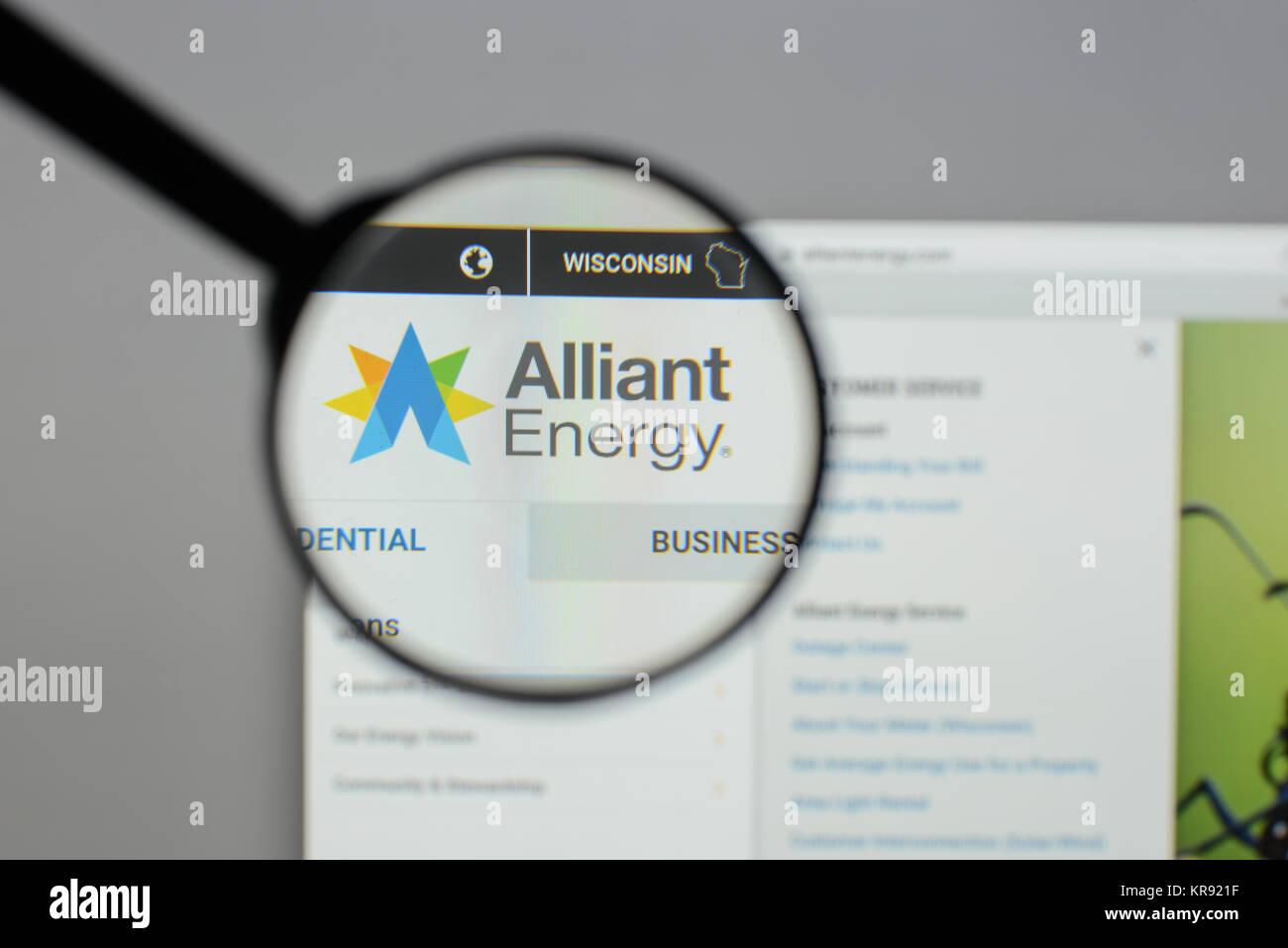 Mailand, Italien - 10 August 2017: Alliant Energy Homepage. Es ist ein public utility Holding. Alliant Energy Logo Stockbild