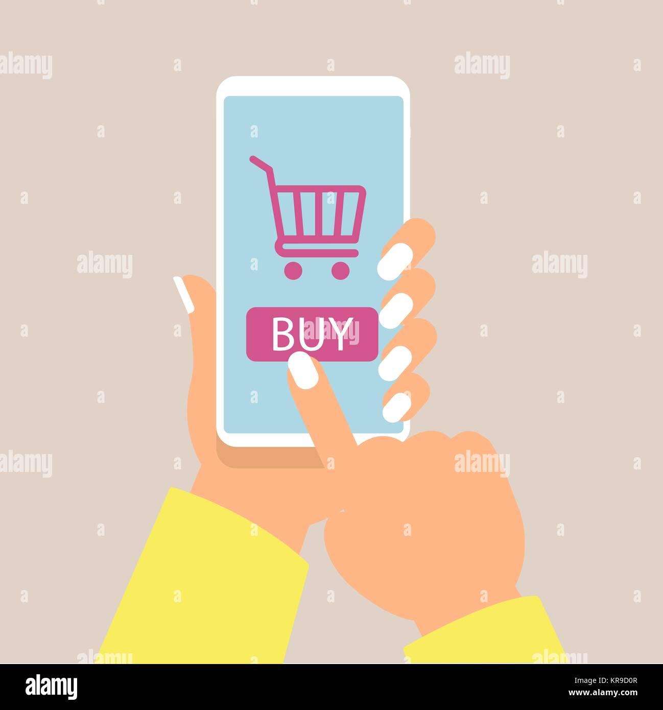 bd166688fb2f19 Online shopping Konzept mit Frauen Hand, Smartphone und online shop Symbole  Vektor