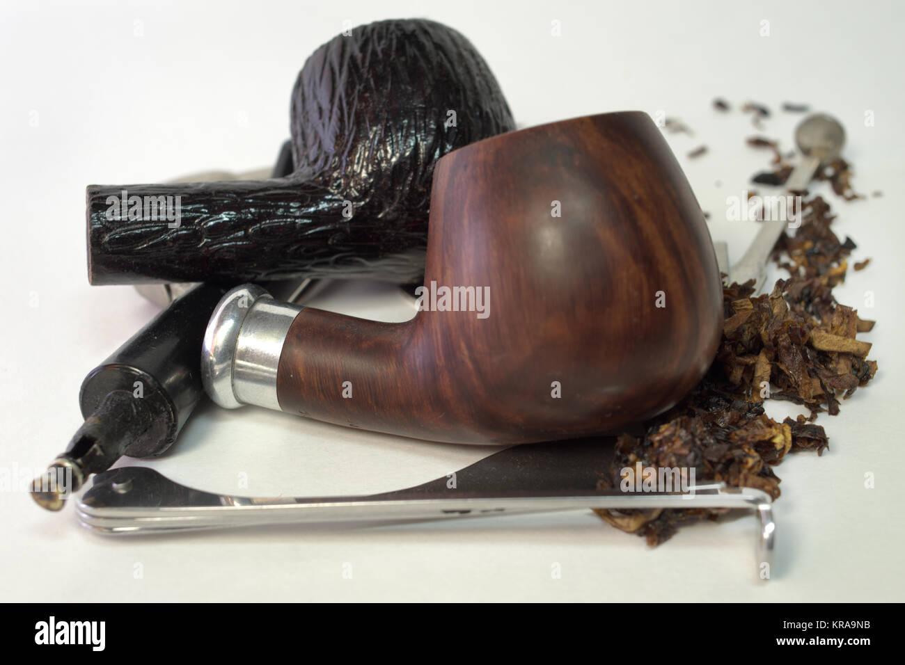 Holz- tabakpfeifen mit metallfilter-Kühler, Tabak, Edelstahl, tamper Stockbild