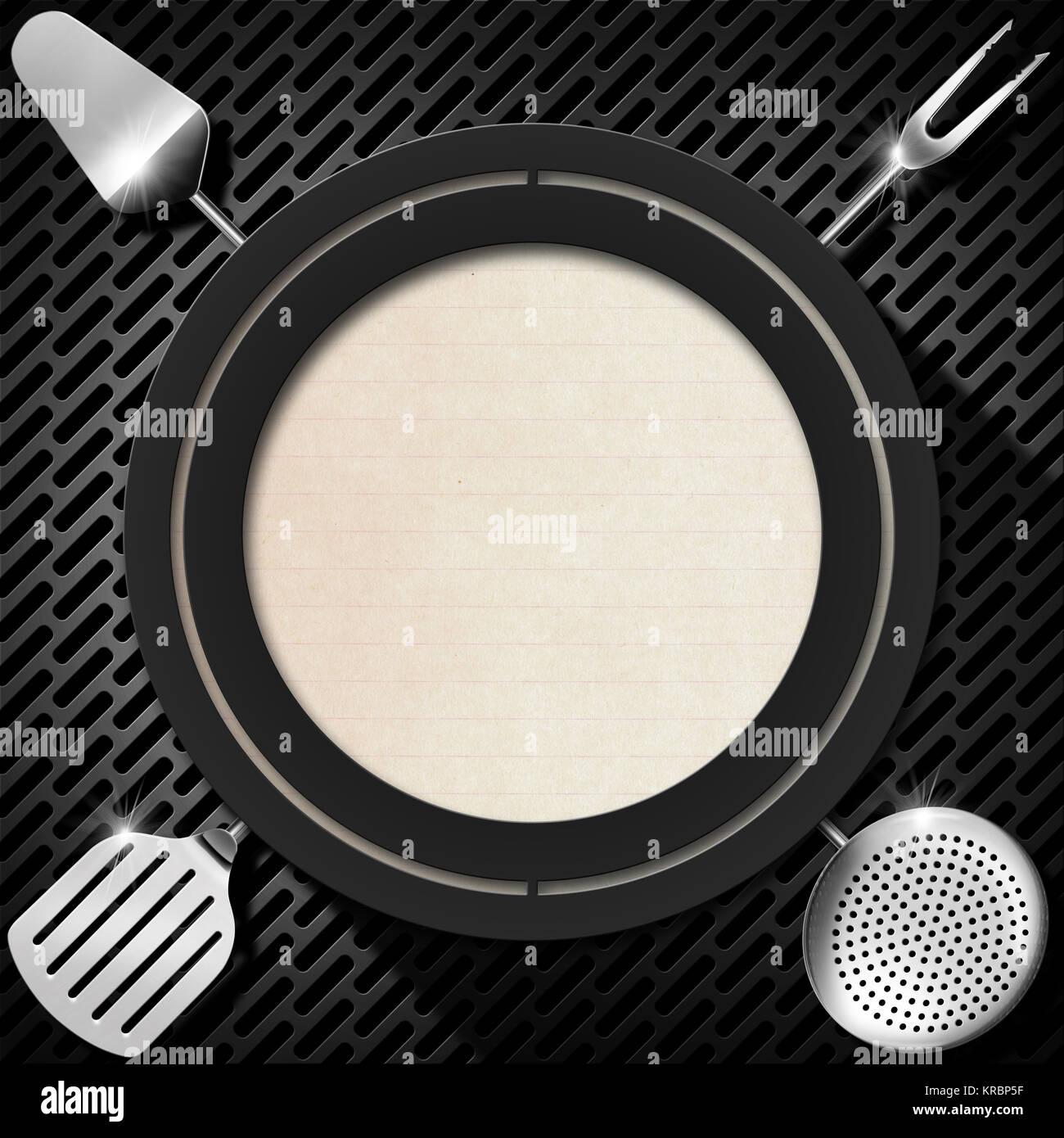 Grauer Kreis mit einem leeren Blatt Papier und Küchengeräte auf ...