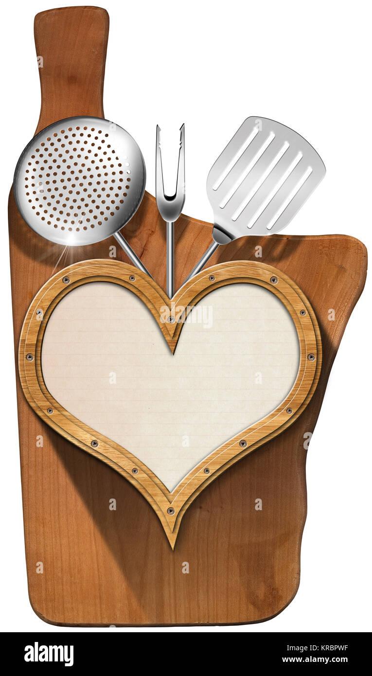 Holz- Bullauge Herzform mit leeren Blatt Papier, Küchengeräte, auf ...