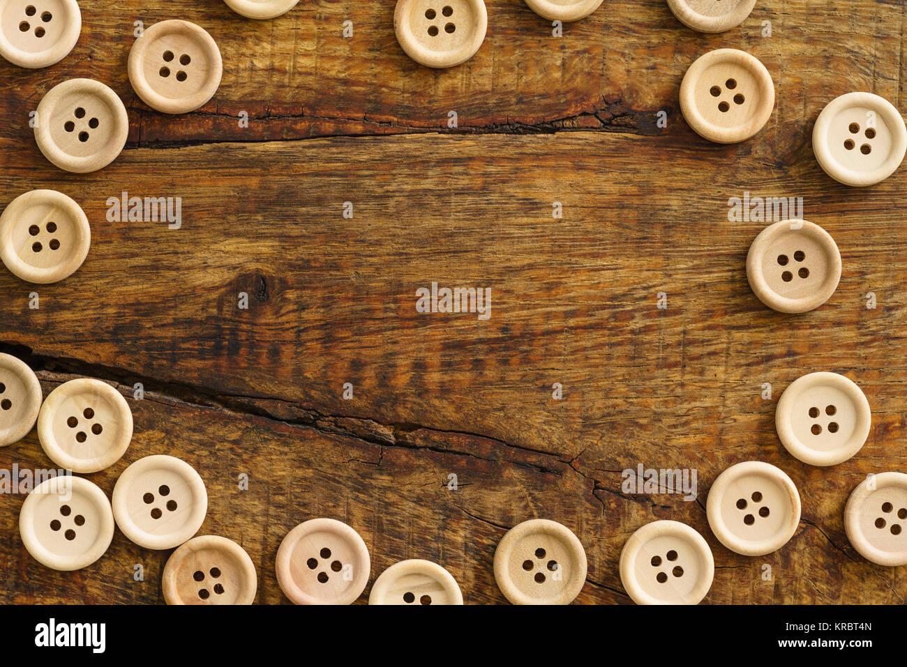 Sammlung von Holzknöpfe Stockfoto