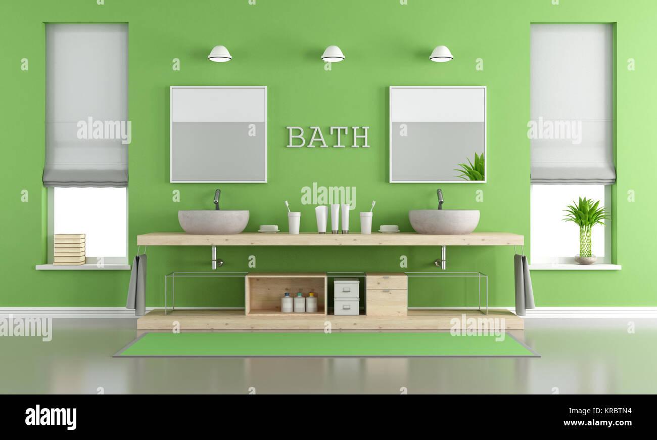 Grun Und Grau Modernes Badezimmer Mit Waschbecken Stockfoto Bild
