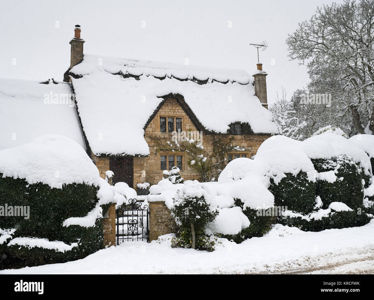 thatched cottage england snow stockfotos thatched. Black Bedroom Furniture Sets. Home Design Ideas