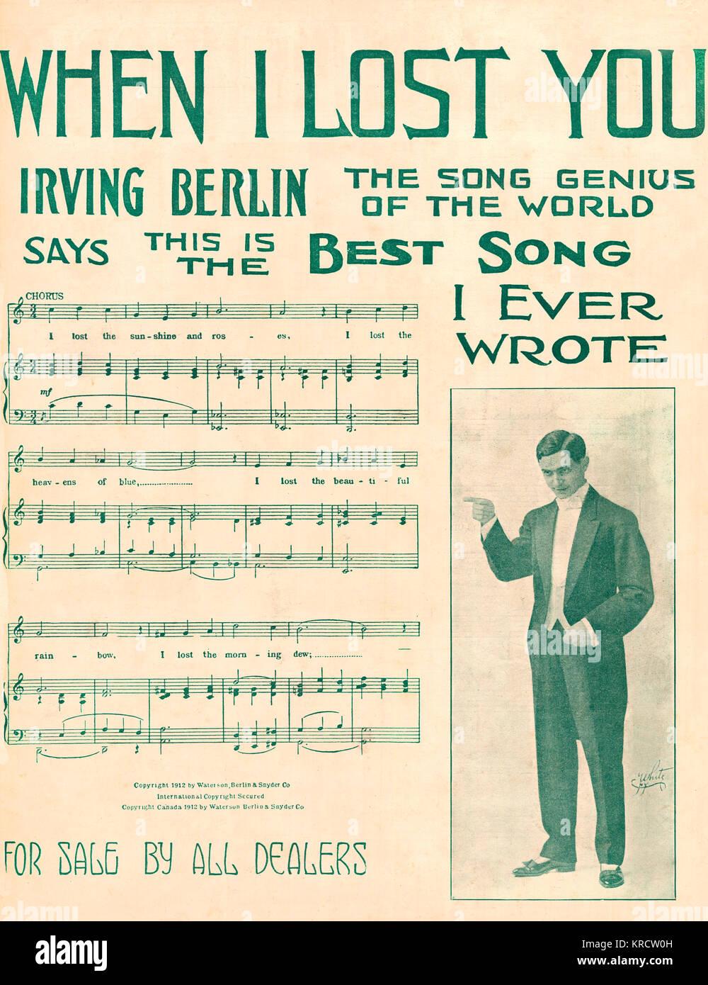 """IRVING BERLIN US-amerikanischer Songwriter, der solche berühmten Lieder schrieb als """"Alexander's Ragtime Stockbild"""