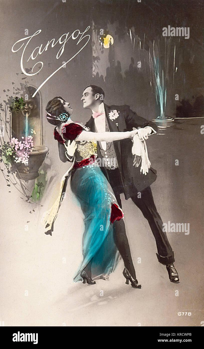 Leidenschaftlich körper-Sprache wie dieses Paar der Tango... Datum: 1914 Stockbild